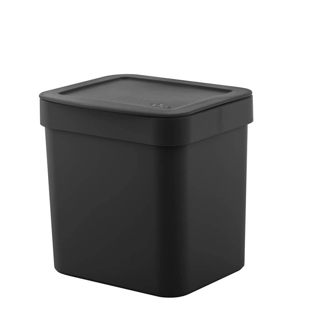 Lixeira de Pia Trium OU Preta 2,5L e Porta Detergente Trium OU Preto 2PÇS