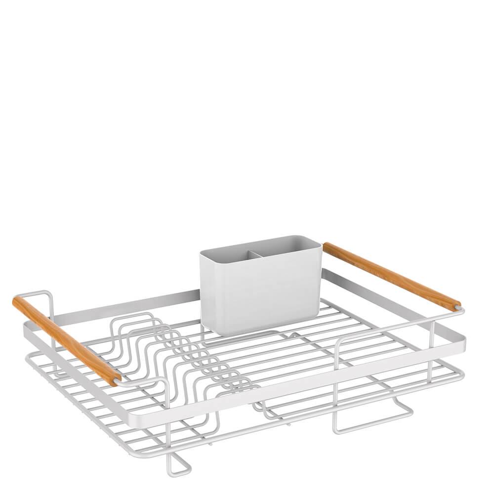 Escorredor de Louça e Escorredor de Copos de Aço Carbono e Madeira Metalla Branco 2PÇS