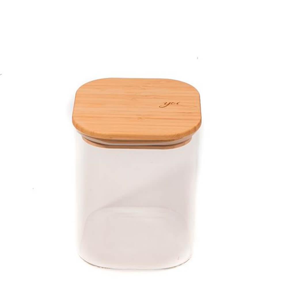 Pote de Vidro com Tampa de Bambu Quadrado 4PÇS