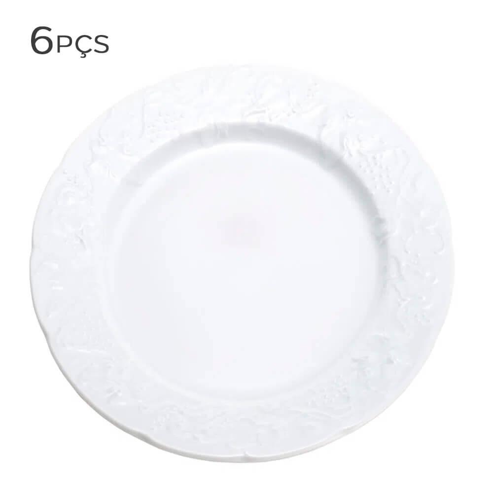 Prato Raso de Porcelana Vendange Wolff 26CM 6PÇS