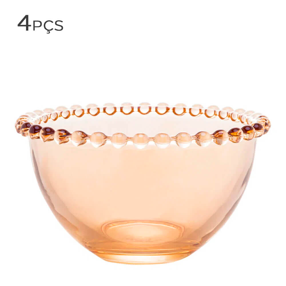 Bowl de Cristal Pearl Wolff Ambar 14X8CM 4PÇS