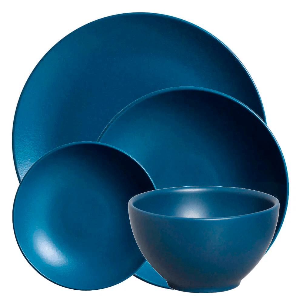 Jogo de Jantar de Cerâmica Stone Boreal Porto Brasil Azul 24PÇS
