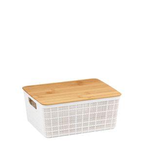 Caixa-Organizadora-Empilhavel-com-Tampa-de-Bambu-Branca-24X185X105CM
