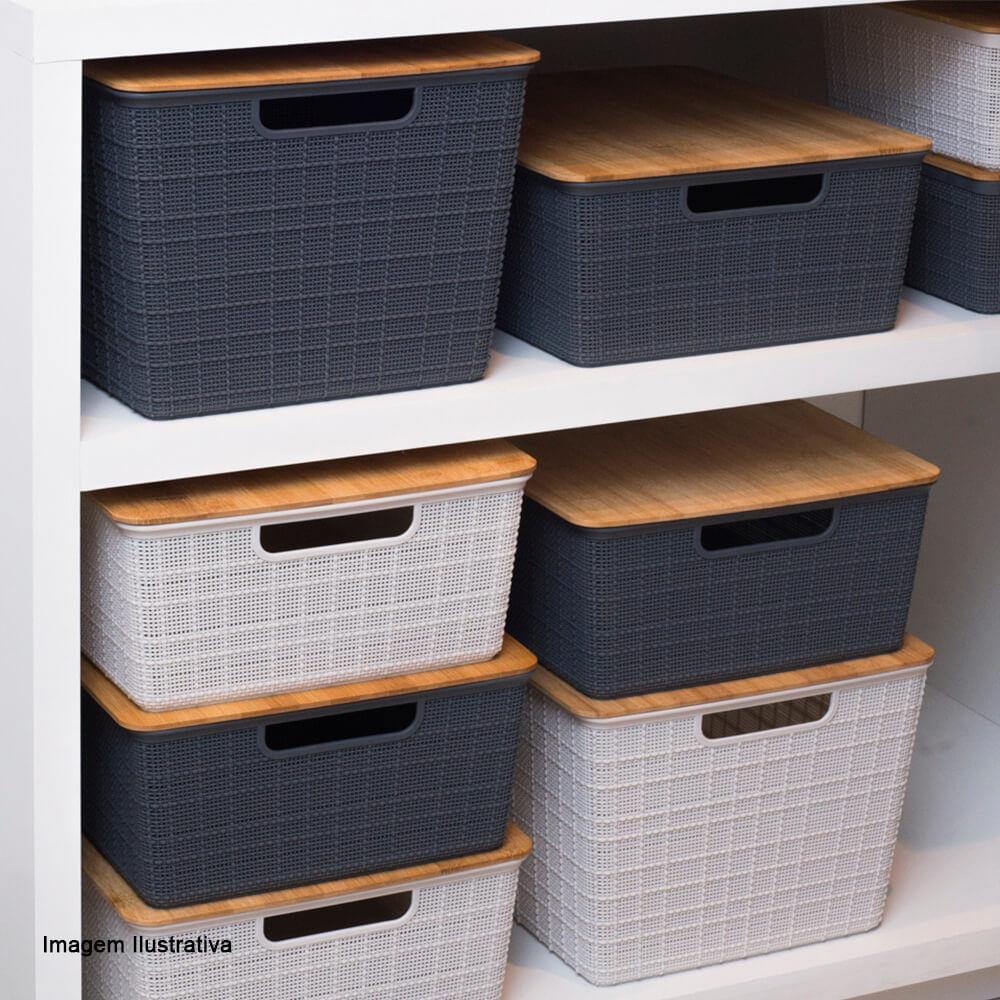 Caixa Organizadora Empilhável com Tampa de Bambu Branca 35,3X29,5X13,8CM