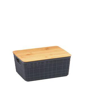 Caixa-Organizadora-Empilhavel-com-Tampa-de-Bambu-Cinza-24X185X105CM