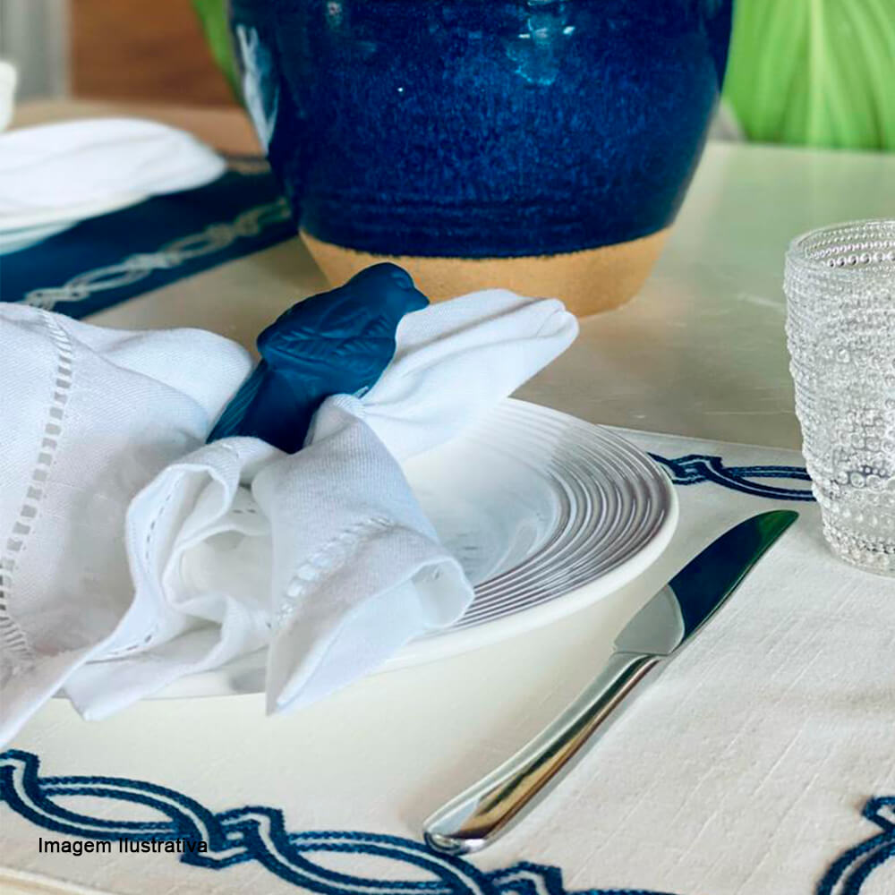 Argola para Guardanapo de Cerâmica Auguri Casa Pássaro Azul Marinho Fosco 4PÇS