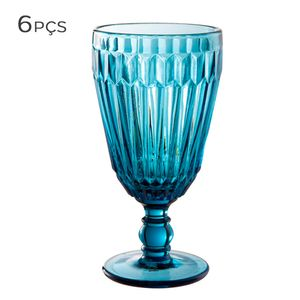 Conjunto-Taca-para-Agua-de-Vidro-Lines-Azul-330ML-6PCS
