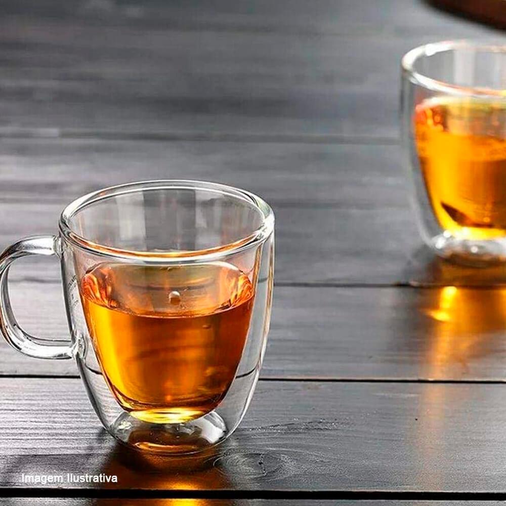 Xícara para Chá de Vidro Borossilicato Parede Dupla 200ML 2PÇS