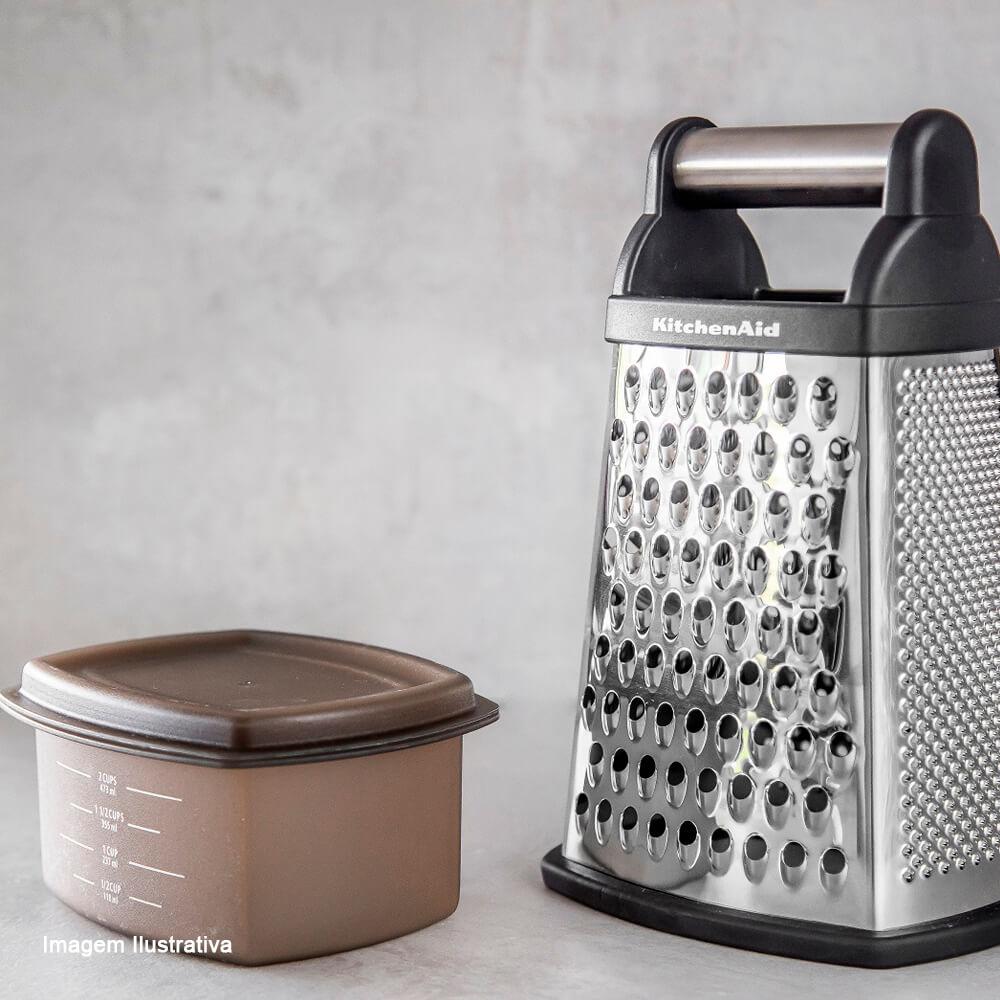 Ralador de Aço Inox 4 Faces com Coletor Kitchenaid Preto 26,5CM