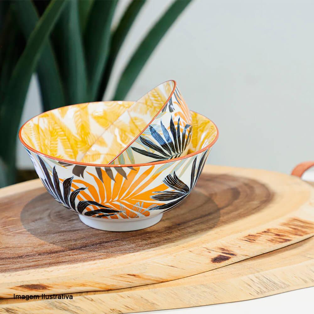 Bowl de Cerâmica Floral Amarelo 16X7,5CM 4PÇS