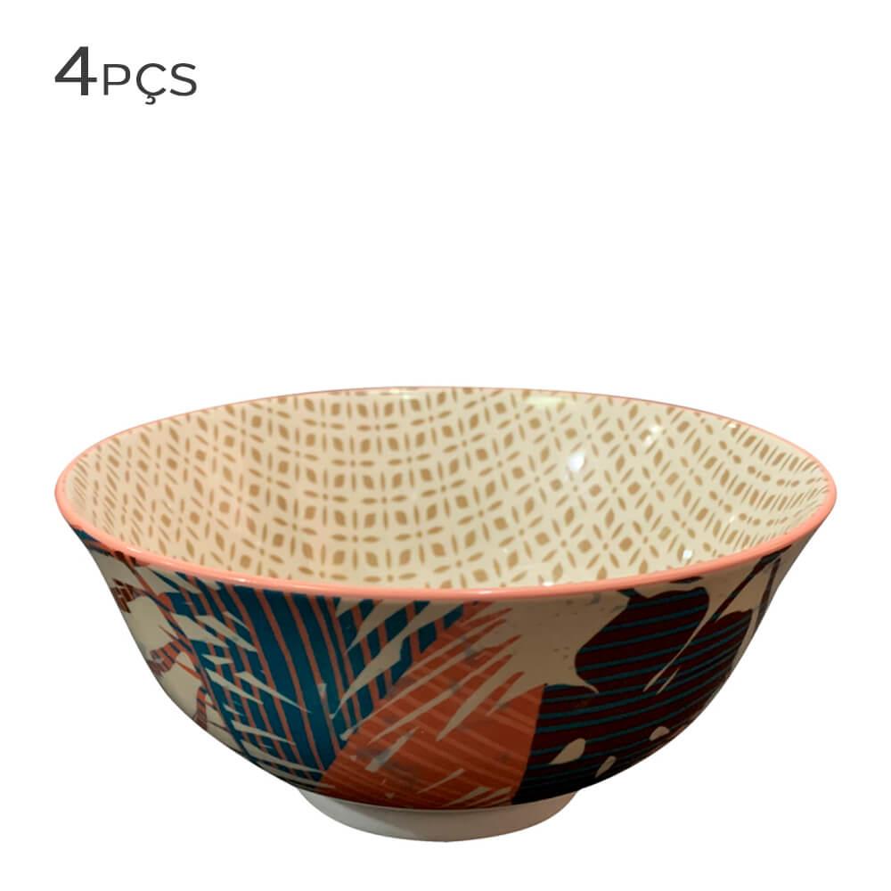 Bowl de Cerâmica Floral Bege 12X6CM 4PÇS