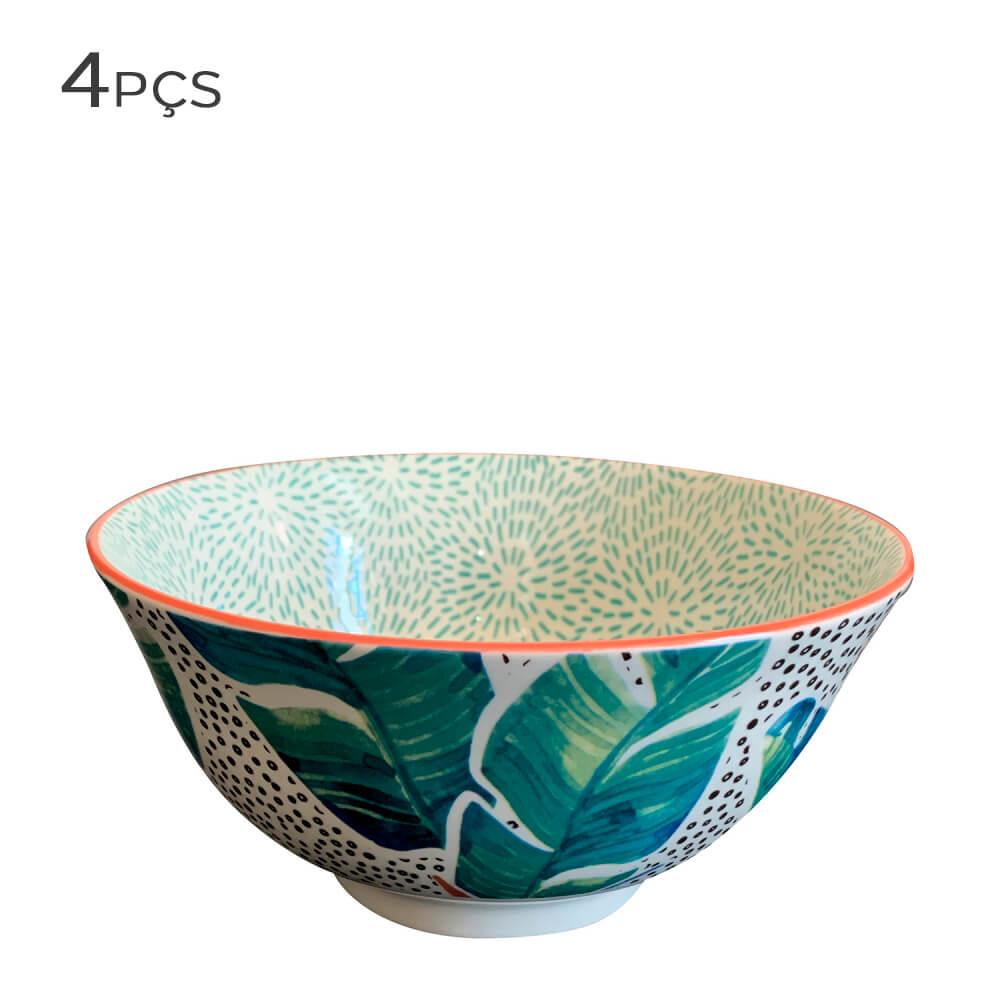 Bowl de Cerâmica Floral Verde 16X7,5CM 4PÇS