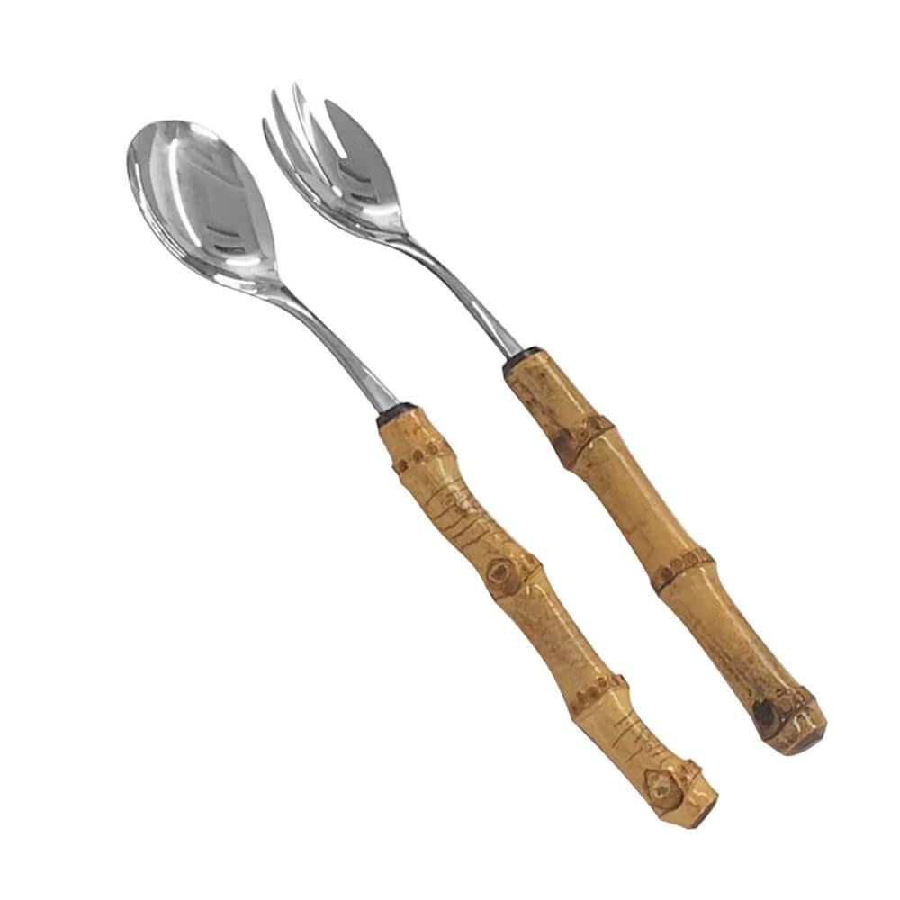 Talher para Salada de Aço Inox e Bambu 26CM 2PÇS