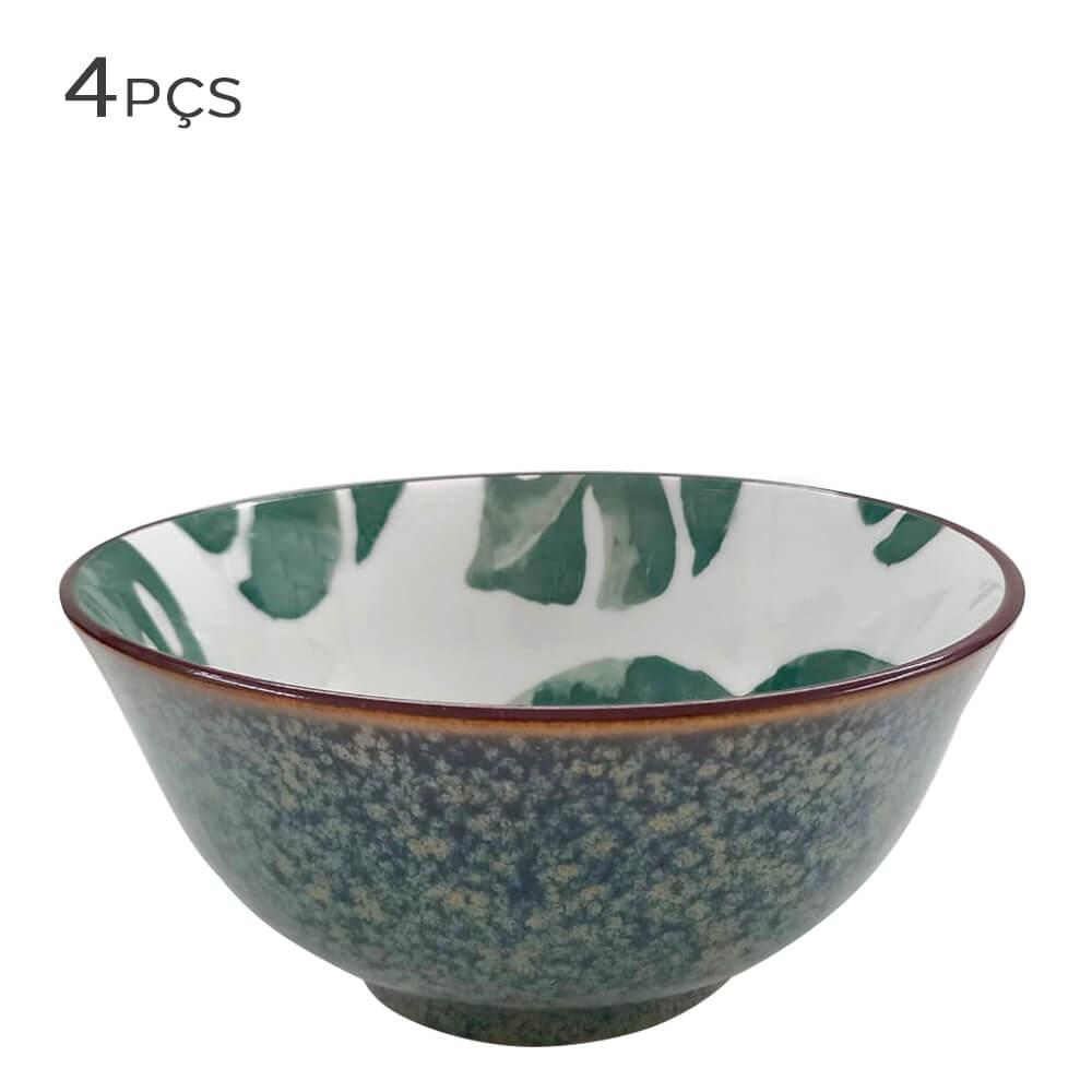 Bowl de Cerâmica Folhagem Verde 16X7,5CM 4PÇS