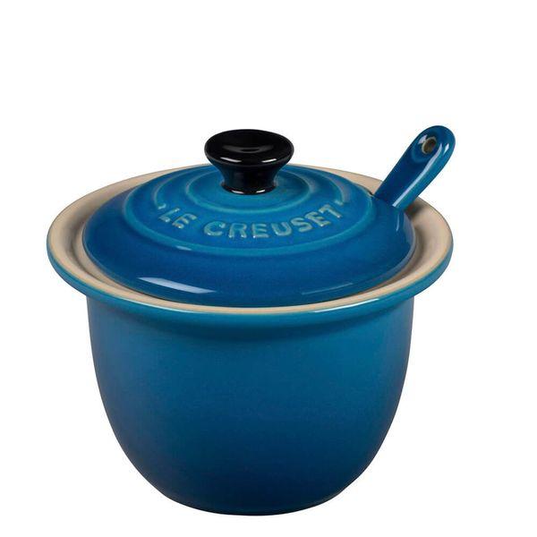 Acucareiro-de-Ceramica-com-Colher-Le-Creuset-Azul-Marseille