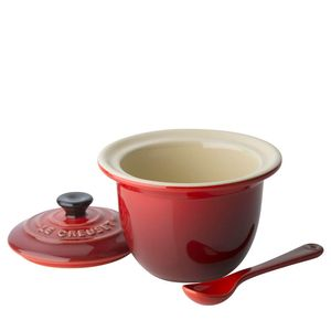 Acucareiro-de-Ceramica-com-Colher-Le-Creuset-Vermelho