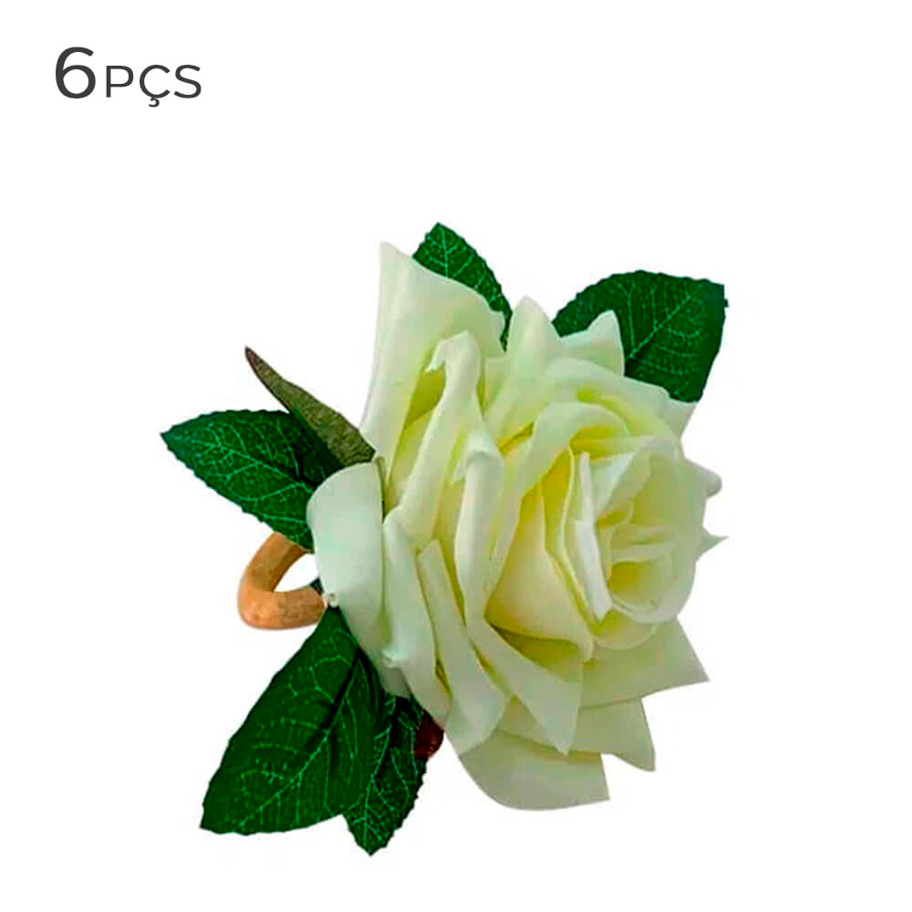 Argola para Guardanapo Rosa Cordoba Branca 6PÇS