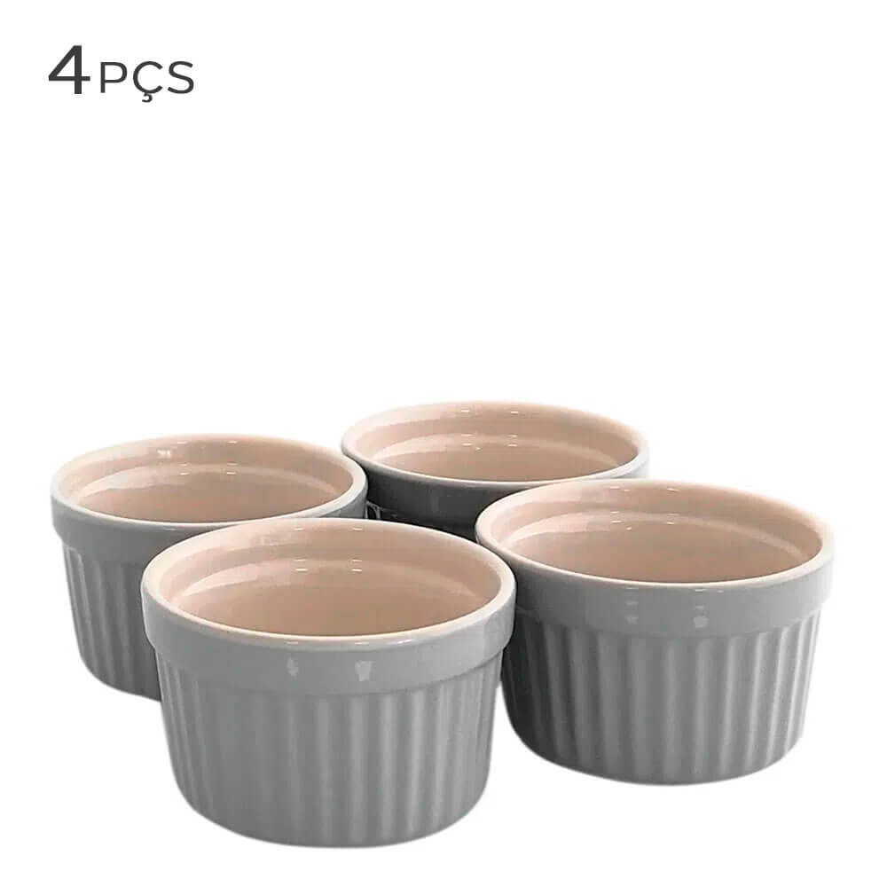 Ramekin de Cerâmica Classic Jomafe Cinza 5,5X10CM 4PÇS