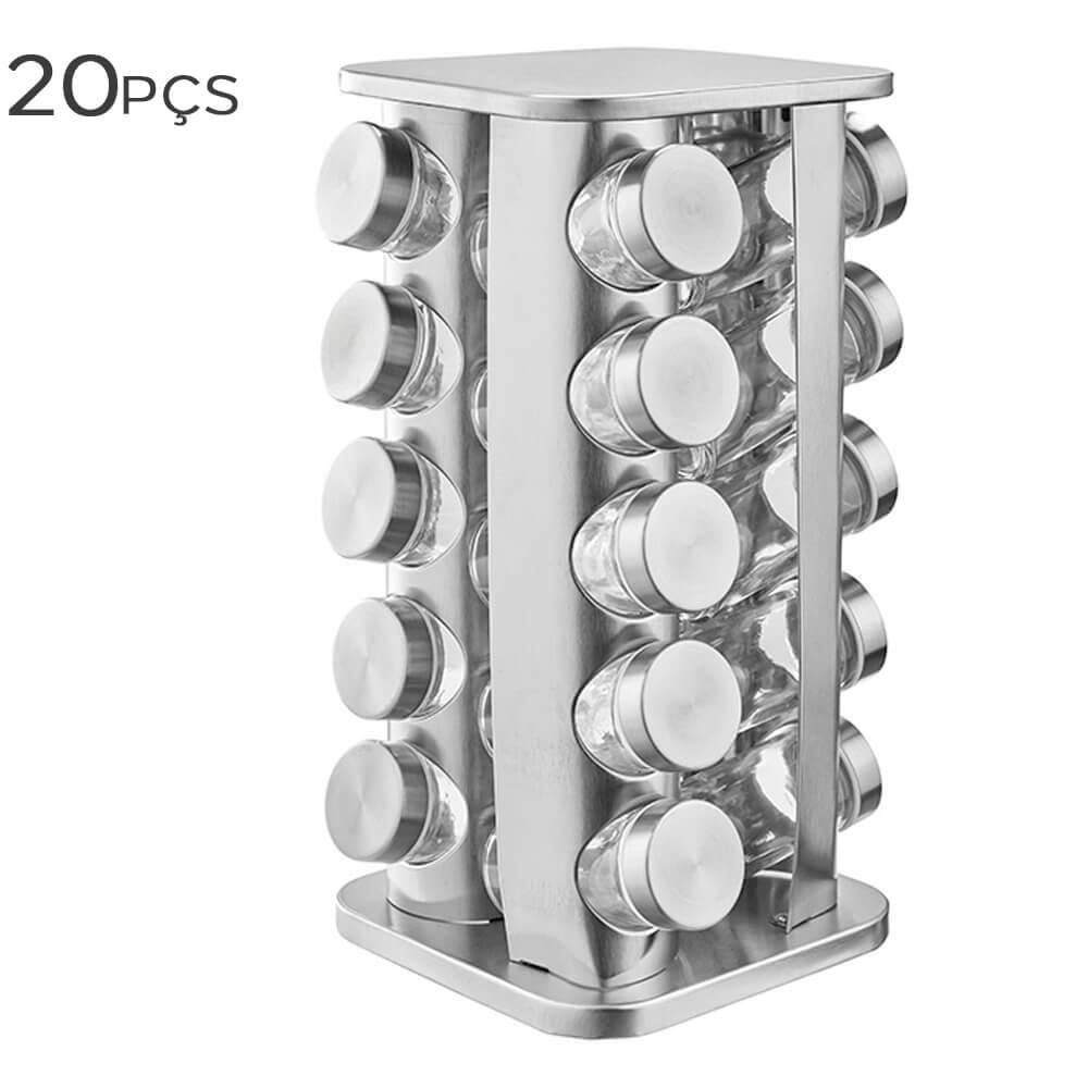 Porta Condimento com Base de Aço Inox 21X21X34CM 20PÇS