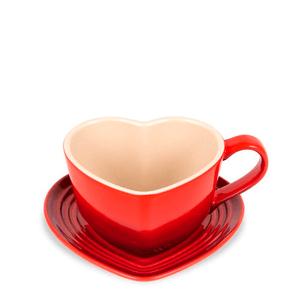 Caneca-de-Ceramica-com-Pires-Coracao-Le-Creuset-Vermelha-220ML